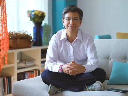 Claudia López, alcaldesa de Bogotá, en una captura del vídeo en el que invitaba a donar para atender la crisis.