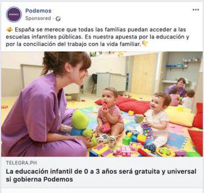 Captura de pantalla de un anuncio de Podemos en redes sociales.