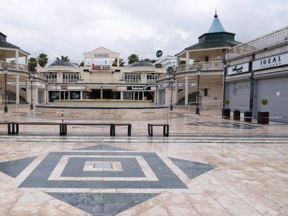 Un centro comercial vacío en el municipio de Arona (Tenerife).
