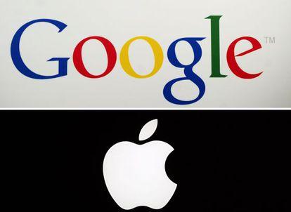 Logos de Google y Apple durante una presentación en Nueva York.