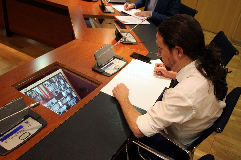 Pablo Iglesias, el 20 de marzo en una reunión telemática con las comunidades autónomas.