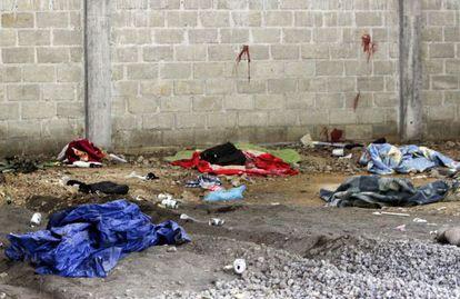 Escenario de la masacre de 22 supuestos narcos en México.