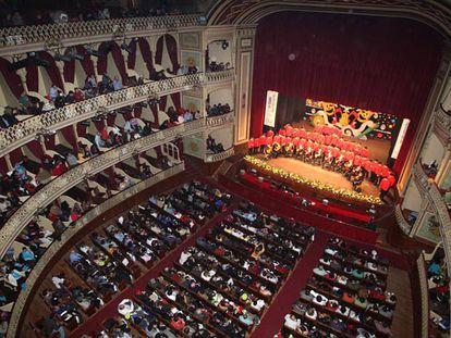 Interior del Gran Teatro Falla de Cádiz durante el Concurso Oficial de Agrupaciones del Carnaval, en una imagen de archivo.