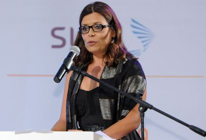 Giannina Segnini, durante su discurso.