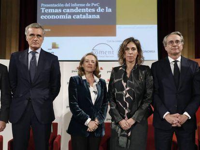 Josep Sánchez Llibre, Gonzalo Sánchez, Nadia Calviño, Àngels Chacón, Javier Faus y Ignacio Marull.
