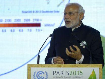El primer ministro indio, Narendra Modi, este lunes en la cumbre París.
