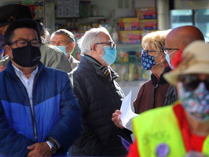 Concentración de jubilados en Terrasa, en octubre.