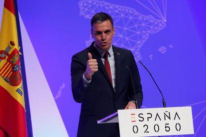 El presidente del Gobierno, Pedro Sánchez, durante la presentación del proyecto España 2050 en mayo.