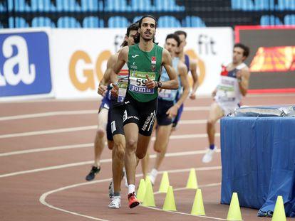 El atleta español Mohamed Katir, en el campeonato de España de atletismo de pista cubierta.