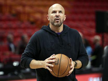 Jason Kidd,  cuando era entrenador ayudante en los Lakers, en un partido contra Miami, en 2019..