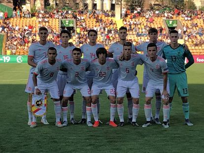 El once titular de España contra Armenia.