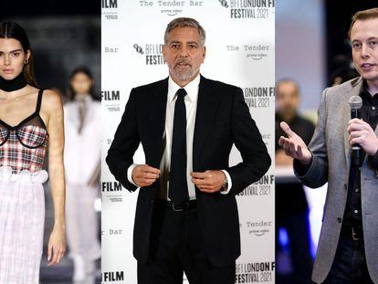 De izquierda a derecha, Kendall Jenner, George Clooney y Elon Musk.