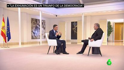 Pedro Sánchez, durante la entrevista con Antonio García Ferreras.
