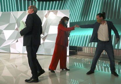 Ángel Gabilondo (PSOE), Mónica García (Más Madrid) y Pablo Iglesias (Unidas Podemos)