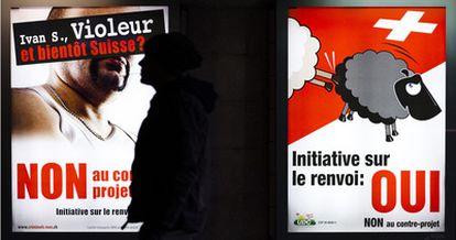 """""""Ivan S., violador ¿y dentro de poco suizo?"""", reza un cartel del Partido Popular de Suiza (SVP)."""