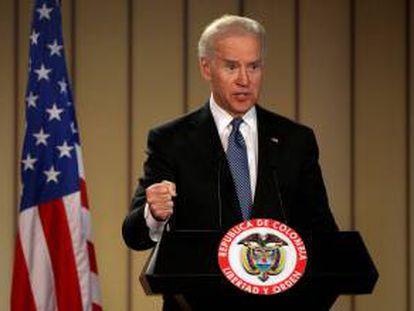 Imagen del pasado 27 de mayo del vicepresidente de Estados Unidos, Joe Biden, durante una rueda de prensa en la Casa de Nariño, en Bogotá (Colombia).