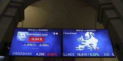 Variaciones de la prima de riesgo reflejadas en la Bolsa de Madrid, este martes.