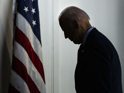 El presidente de los EE UU, Joe Biden, tras una rueda de prensa en Washington, el miércoles.