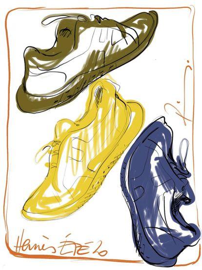 Las deportivas Avatar en los tres tonos disponibles: verde caqui, amarillo y azul.