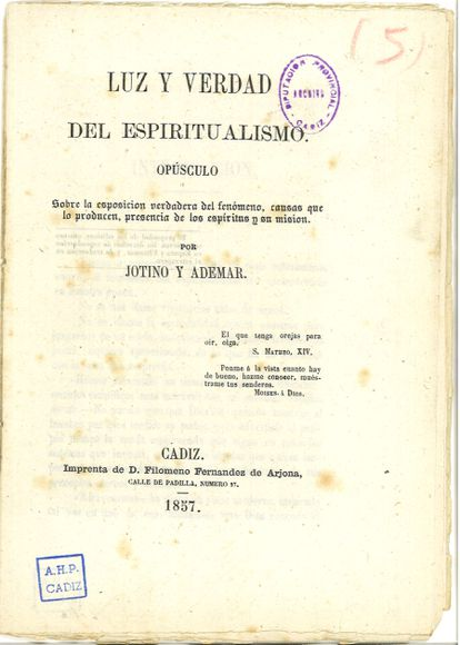 Cover of the spiritualism manual 'Light and truth of spiritualism' (1857) kept in the Provincial Archive of Cádiz
