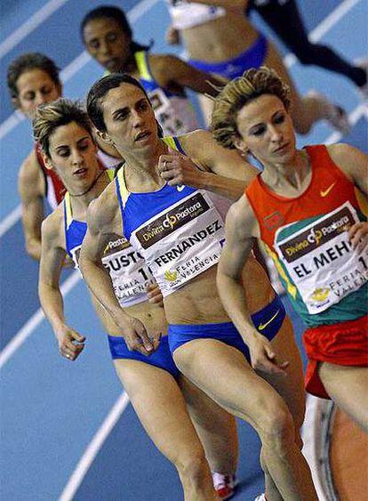 Nuria Fernández, durante la prueba del 1.500m en Valencia