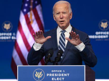 El presidente electo de los Estados Unidos, Joe Biden, durante una conferencia de prensa en Wilmington, Delaware, este martes.