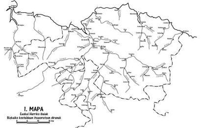 Mapa de los ríos de Bizkaia.