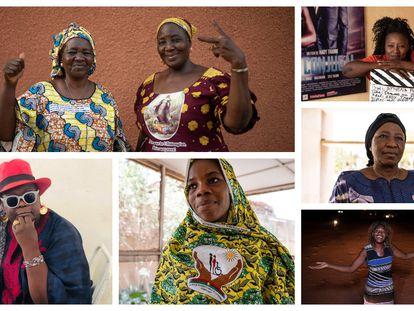 Retratos de Therese y Delphine, Kady, Abibata, Irène, Tipoko y Monique, protagonistas de este reportaje.