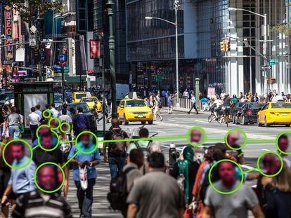Sistema de reconocimiento facial usado en una calle de Nueva York, Estados Unidos.
