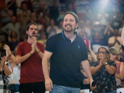 Pablo Iglesias, líder de Unidas Podemos, interviene en un mitin en Las Palmas de Gran Canaria este domingo.