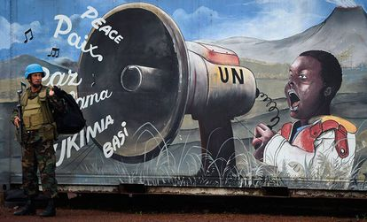 Un soldado de la ONU en Goma (República Democrática del Congo).