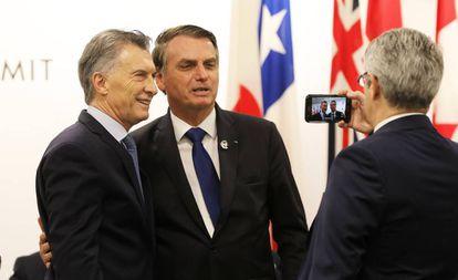 Macri y Bolsonaro, el sábado pasado en Osaka (Japón).