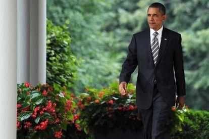 El presidente Barack Obama, antes de su intervención en la Casa Blanca.