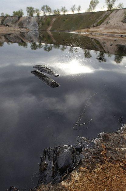 Estado que presentaba ayer la laguna de aceite propiedad de la Comunidad de Madrid.