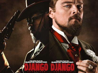 Cartel de 'Django Unchained', con Jamie Foxx (izquierda) y Leonardo DiCaprio.