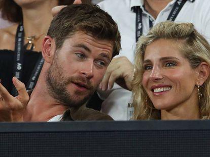 Chris Hemsworth y Elsa Pataky en el Open de Australia, en 2018.