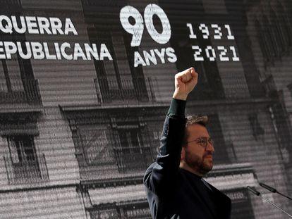 Pere Aragonès, durante su intervención en el acto de celebración del 90 aniversario de la fundación del partido, republicano el sábado en Barcelona.