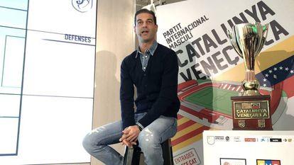 Gerard López, seleccionador de Catalunya, en la sede de la Federación Catalana de Fútbol.