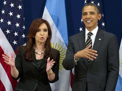 ALa presidenta argentina, Cristina Fernández de Kirchner, y el presidente de EE UU, Barack Obama, el viernes en Cannes.