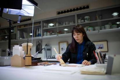 Minako Wada, el viernes, en su estudio en el Prado.