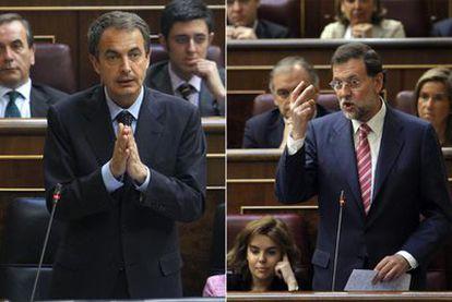 Zapatero y Rajoy, ayer en el Congreso durante su intervención en la sesión de control al Gobierno.