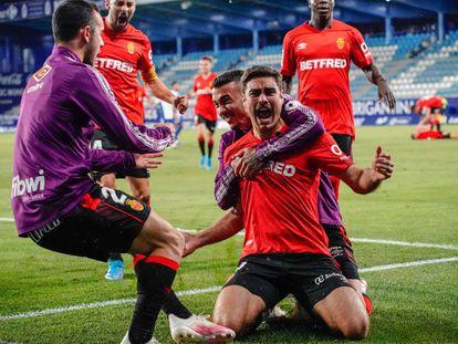 Los jugadores del RCD Mallorca celebran un gol en el último partido liguero.