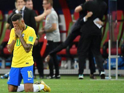 Neymar, tras la eliminación de Brasil ante Bélgica.