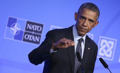 """Obama el viernes en Gales, donde dijo que actuaría """"pronto"""" en inmigración."""