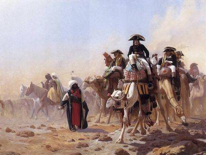 En los cuadros clásicos invadir Egipto en julio con casaca y bicornio queda muy elegante, pero habría que ver cómo olían. En la imagen, Napoleón y sus tropas en Egipto tal y como las pintó Jean-Léon Gérôme.