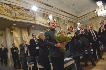 El Nobel de Literatura, Mo Yan, ayer en Estocolomo.