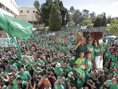 La 'marea verde' en una de las protestas de esta semana en Palma.