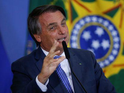 El presidente de Brasil, Jair Bolsonaro, este martes en el Palacio de Planalto en Brasilia, Brasil.