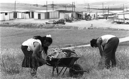 Los chabolistas de San Blas, en junio de 1994, un mes después de su llegada a la Cañada.