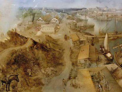 Recreación de la zona excavada del Testaccio haliéutico de Gades.